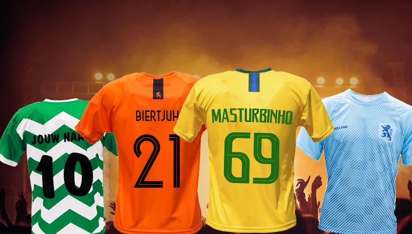 Carnavals-voetbalshirts bedrukt